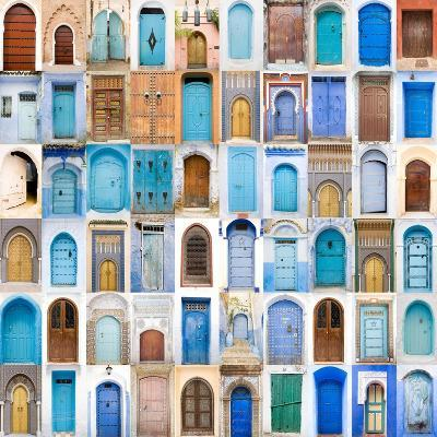 Very Old, Blue And Golden Doors Of Morocco-charobna-Art Print