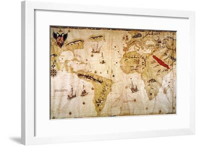 Vespucci's World Map, 1526-Juan Vespucci-Framed Giclee Print