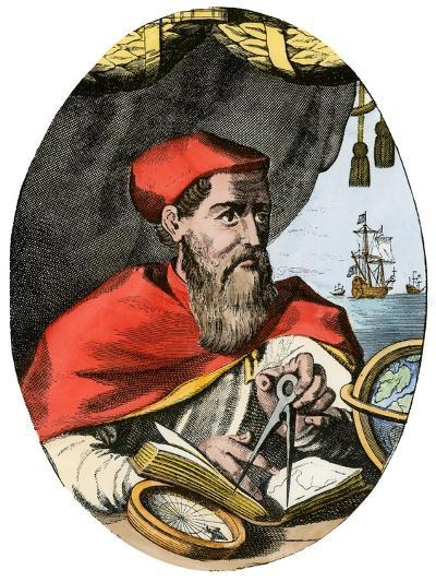 Vespucius Holding Compass & Calipers, Overlooking Sea--Giclee Print