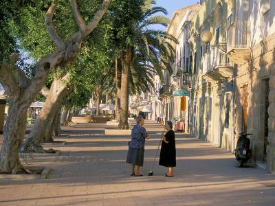 Via Cavour, Street Facing the Harbour, Carloforte, Southwest Area, Island of Sardinia, Italy-Duncan Maxwell-Photographic Print
