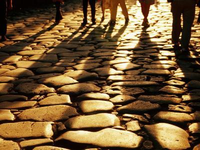 Via Sacra Cobblestones and Pedestrian Shadows at Roman Forum, Rome, Italy-Johnson Dennis-Photographic Print