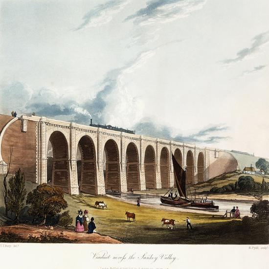 Viaduct across the Sankey Valley, 1831 (Colour Aquatints, Partly Hand-Coloured)-Thomas Talbot Bury-Giclee Print