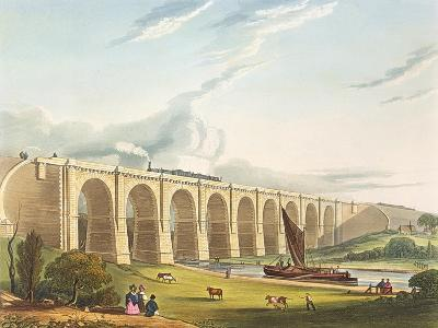 Viaduct across the Sankey Valley, Plate 'Liverpool and Manchester Railway', engraved by Henry Pyall-Thomas Talbot Bury-Giclee Print