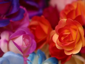 Vibrant and Colorful Arrangement of Beautiful Silk Roses