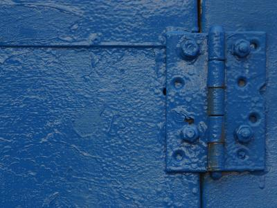 Vibrant Blue Painted Door and Hinge--Photographic Print
