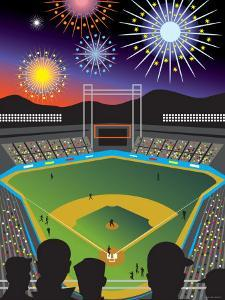 Vibrant Fireworks Exploding Above a Baseball Diamond and Sports Fans
