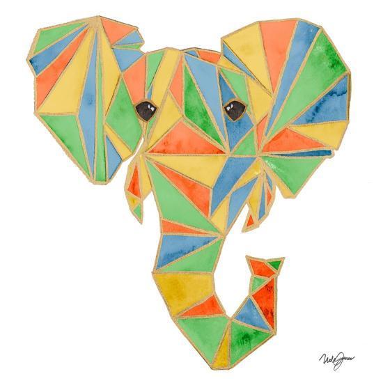 Vibrant Retro Elephant-Nola James-Art Print