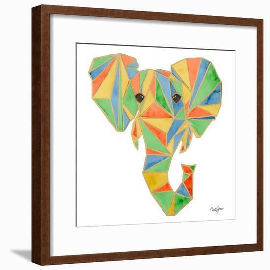 Vibrant Retro Elephant-Nola James-Framed Art Print