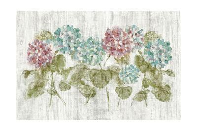 Vibrant Row of Hydrangea on Wood-Cheri Blum-Art Print