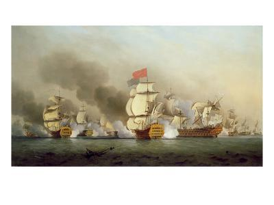 Vice Admiral Sir George Anson's (1697-1762) Victory Off Cape Finisterre, 1749-Samuel Scott-Giclee Print