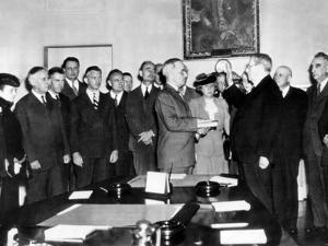 Vice Pres Harry Truman Took Oath of Office in White House Cabinet Room after Roosevelt's Death