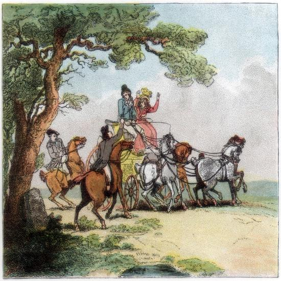 Vicissitudes of the Road in 1787, the Highwayman, Lord Barrymore Stopped, 1890-Thomas Rowlandson-Giclee Print