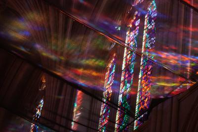 Looking Up Through Netting at Stained Glass Windows in Washington National Cathedral