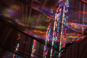 Looking Up Through Netting at Stained Glass Windows in Washington National Cathedral by Vickie Lewis