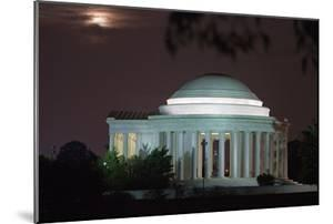 Moonrise over the Jefferson Memorial Illuminated at Night by Vickie Lewis