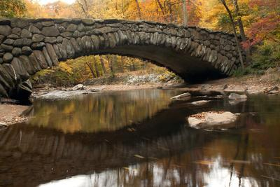 The 100 Year Old Boulder Bridge under Fall Color in Rock Creek Park