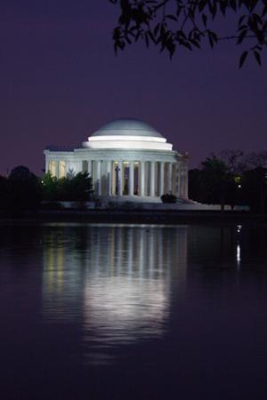 The Jefferson Memorial and its Illuminated Reflection Cast on the Tidal Basin at Dusk