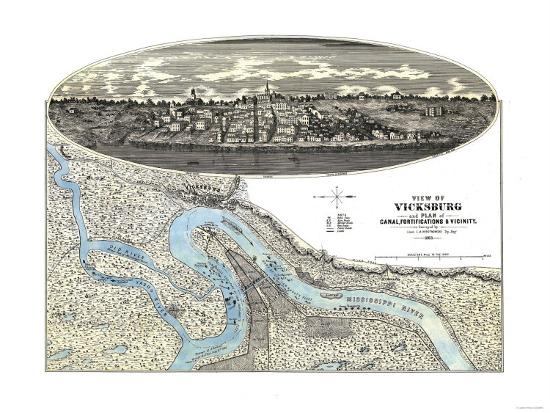 Vicksburg, Mississippi - Panoramic Map-Lantern Press-Art Print