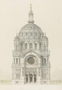 Eglise Saint-Augustin (Paris): Main Facade Elevation by Victor Baltard