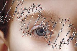 DNA Molecule Over Young Child's Face by Victor De Schwanberg