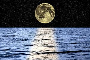 Moon Over the Sea, Composite Image by Victor De Schwanberg