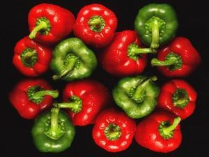 Red And Green Peppers by Victor De Schwanberg