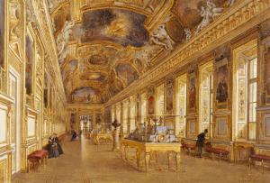 The Interior of the Louvre, the Galerie d'Apollon by Victor Duval