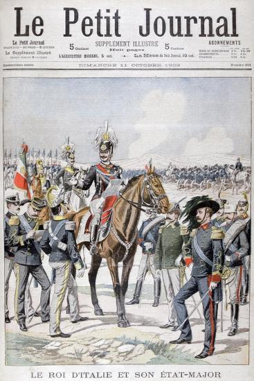 Victor Emmanuel III, King of Italy and His State-Major, 1903--Giclee Print