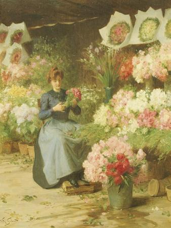Flower Seller Behind the Madelaine Church