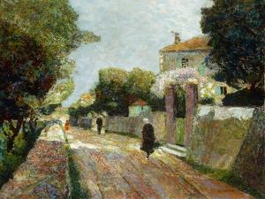 Sunny Village Street by Victor Gabriel Gilbert