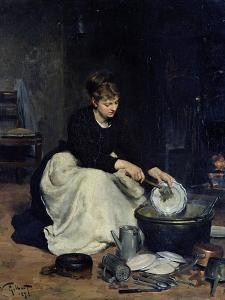 The Kitchen Maid Washing-Up by Victor Gabriel Gilbert