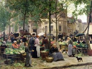The Square in Front of Les Halles, 1880 by Victor Gabriel Gilbert