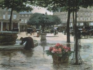 Flower Seller near the Louvre, Paris by Victor Gilbert