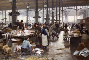 The Fish Hall at the Central Market, 1881 by Victor Gilbert