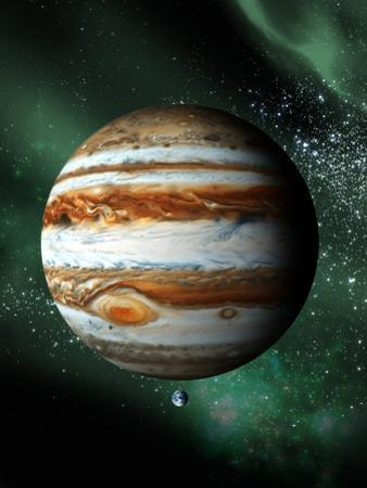 Jupiter And Earth, Artwork by Victor Habbick