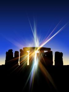 Light Flares At Stonehenge, Artwork by Victor Habbick