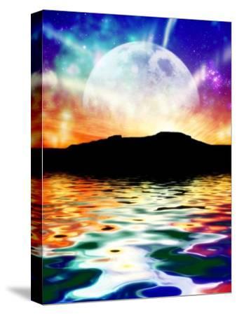 Moon Over Ocean Landscape, Artwork