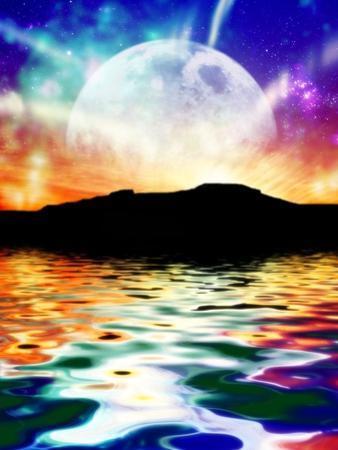 Moon Over Ocean Landscape, Artwork by Victor Habbick