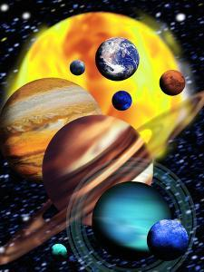 Planets & Their Relative Sizes by Victor Habbick