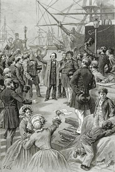 Victor Hugo Hails a Universal Republic During a Speech While in Exile on 1st August 1852-Frederic Lix-Giclee Print