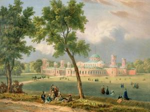 The Peter the Great Palace in Moscow, Printed by Edouard Jean-Marie Hostein (1804-89) by Victor Jean Adam