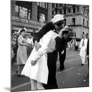 US Sailor Bending Young Nurse over His Arm to Give Her Passionate Kiss in Middle of Times Square by Victor Jorgensen