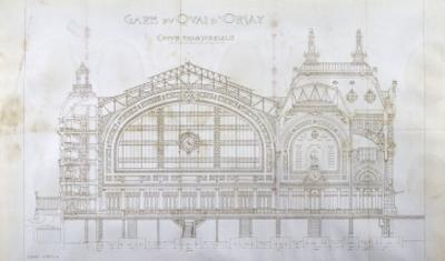 Gare d'Orsay (Paris) : coupe transversale by Victor Laloux