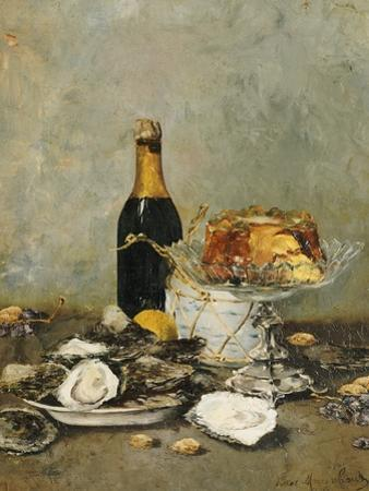 Oysters, Cake and a Bottle of Champagne, 1891 by Victor Morenhout