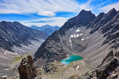 Mountain Lake in an Open Circus in the Siberian Highlands. Eastern Sayan. Buryatia