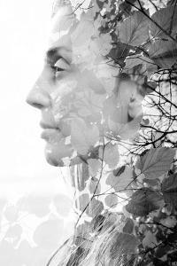 Double Exposure of Woman Combined with Photograph of Leaves by Victor Tongdee