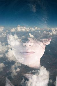 Dream like Surreal Double Exposure Portrait of Attractive Lady Combined with Aerial View Photograph by Victor Tongdee