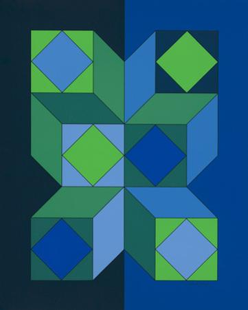 Ohne Titel XLIII (Dunkelblau) by Victor Vasarely