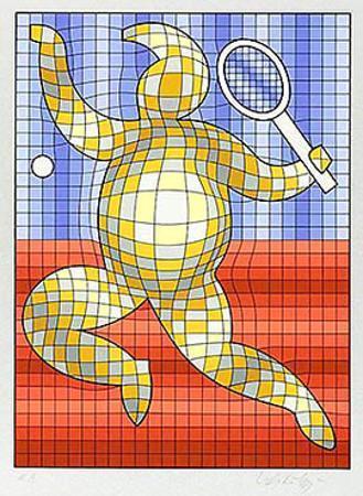 Tennis Rot/Blau auf Silber by Victor Vasarely