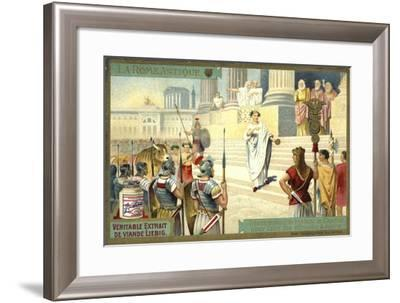 Victor Visiting the Capitol to Make Offerings to Jupiter, Ancient Rome--Framed Giclee Print